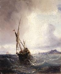 Fot. MM W-aw; ThĂŠodore Gudin, Przemytnicz feluka w Zatoce Biskajskiej, 1845